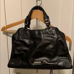 Rebecca Minkoff black and cheetah print bag